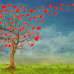Tree  of hearts, valentines day background,illustration