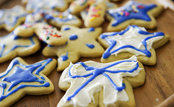 Mix of Christmas and Chanukkah cookies