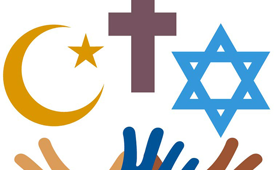 Peace and dialogue between religions. Christian symbols, jew and Islamic