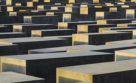 Berlin, Germany - April 2, 2016: View of Jewish Holocaust Memorial, Berlin, Germany. It is situated at the Podsdamer Platz in the heart of Berlin.