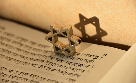Jewish script and Star of David