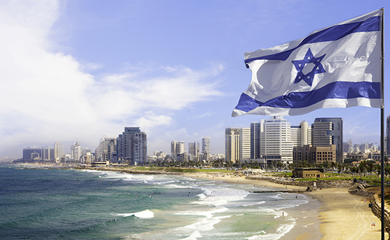 Tel Aviv coastline with Israel Flag, Israel