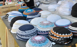 Yarmulkes or Yamakas sold in preparation for Passover in Jaffa Flea Market, Tel Aviv, Israel