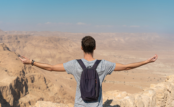 young man with arms raised looking the panorama over the desert in israel
