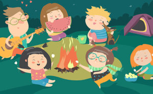 Kids sitting around bonfire and roasting marshmallows