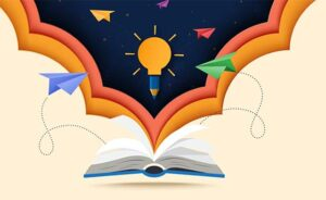 Paper cut art of open book with learning,education and explore c